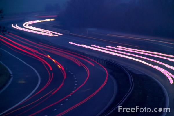 Picture of Motorway at night - Free Pictures - FreeFoto.com