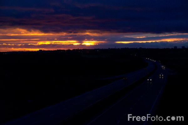 Picture of Dual carriageway road at Sunrise - Free Pictures - FreeFoto.com
