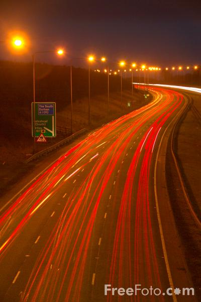 Picture of Dual carriageway road at night - Free Pictures - FreeFoto.com