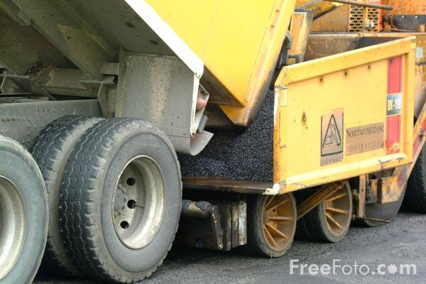 Picture of Asphalt paving machine - Free Pictures - FreeFoto.com