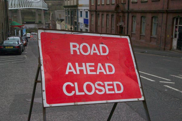 Picture of Road Ahead Closed Sign - Free Pictures - FreeFoto.com