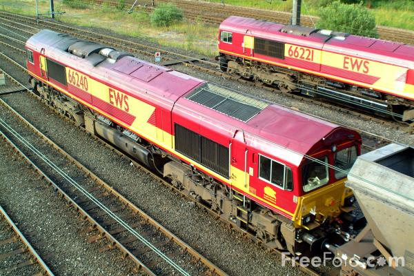 Picture of EWS Class 66 240 and 66 221 at Tyne Yard - Free Pictures - FreeFoto.com