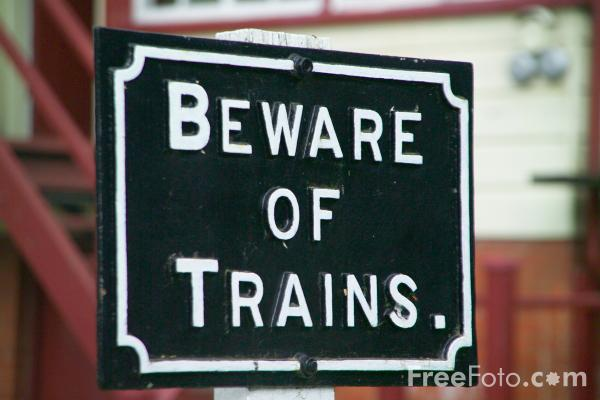 Picture of Beware of Trains Sign - Free Pictures - FreeFoto.com