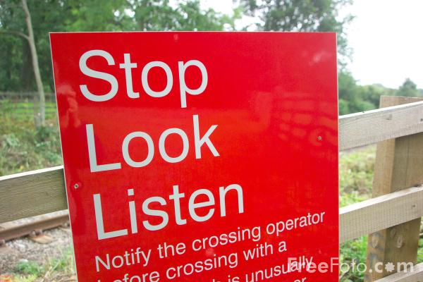 Picture of Stop Look Listen Sign - Free Pictures - FreeFoto.com