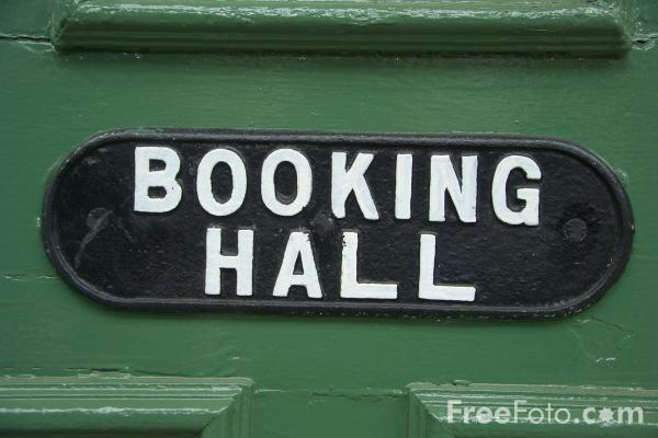 Picture of Booking hall sign - Free Pictures - FreeFoto.com