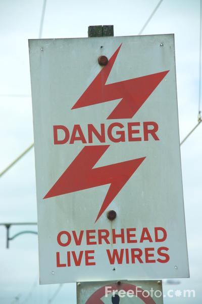 Picture of Danger Overhead Live Wires - Free Pictures - FreeFoto.com