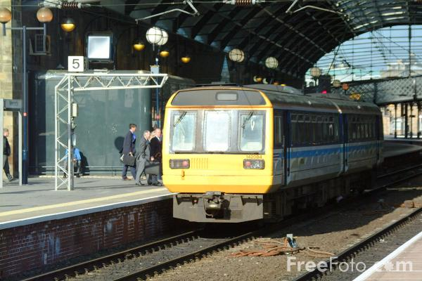 Picture of Arriva Trains Northern Class 142 Pacer unit stands in Newcastle Central Station - Free Pictures - FreeFoto.com