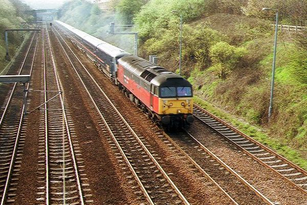 Picture of RES Class 47 47 765 hauls a diverted train at Pelaw. - Free Pictures - FreeFoto.com