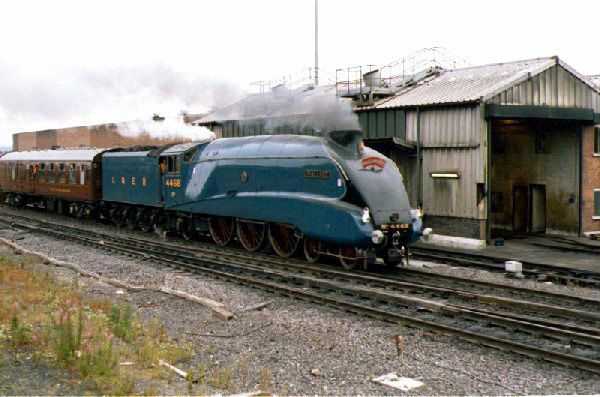 Picture of Gresley A4 4468 Mallard passes Gateshead Shed. - Free Pictures - FreeFoto.com