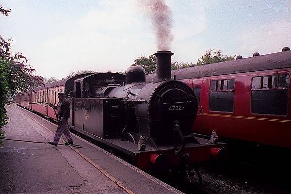 Picture of 1926 built LMS 3F 0-6-0T 47327 takes water at Butterley - Free Pictures - FreeFoto.com