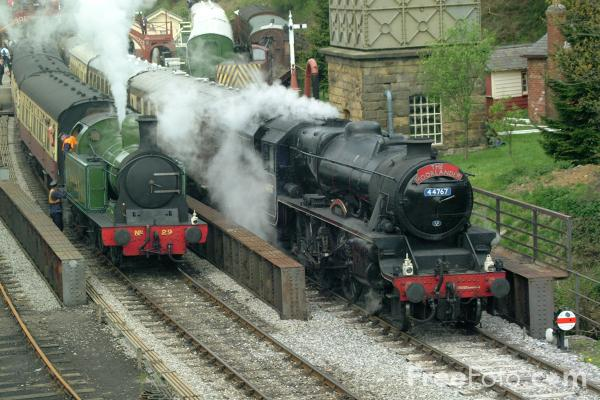 Picture of Lambton Tank No29 and LMS 5MT 4-6-0 44767 George Stephenson at Goathland - Free Pictures - FreeFoto.com