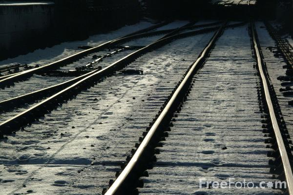 Picture of Snow Covered Railway Track - Free Pictures - FreeFoto.com