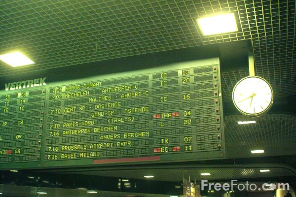 Picture of Train Indicator Board, Gare du Midi, Brussels, Belgium - Free Pictures - FreeFoto.com