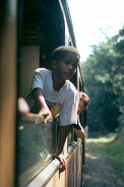 Picture of A young boy enjoys his steam train ride - Free Pictures - FreeFoto.com
