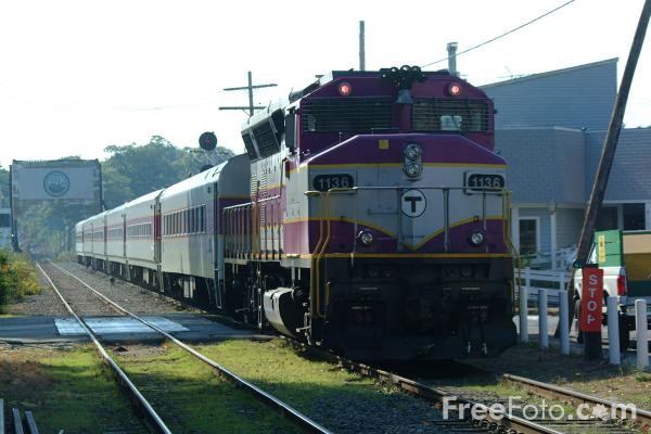 Picture of MBTA railroad service at Manchester by the Sea - Free Pictures - FreeFoto.com