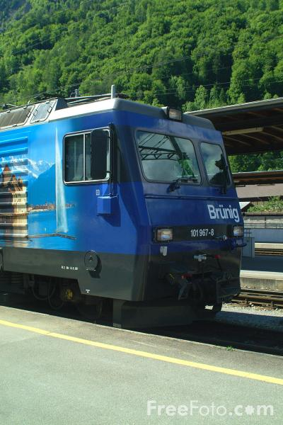 Picture of Brunig Electric Meter Gauge Locomotive, Interlaken, Switzerland - Free Pictures - FreeFoto.com