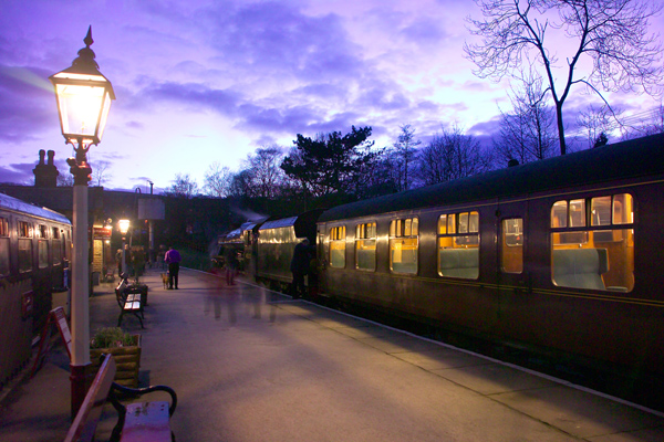 Picture of Oxenhope station at night - Free Pictures - FreeFoto.com