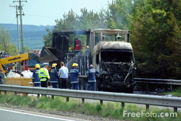 Picture of Lorry Fire, A69, Corbridge, Northumberland - Free Pictures - FreeFoto.com