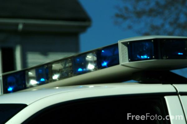 Picture of Blue Lights, American Police Car - Free Pictures - FreeFoto.com