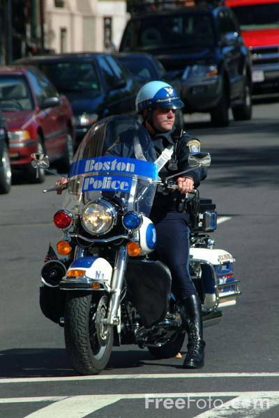Picture of Boston Police Motorbike - Free Pictures - FreeFoto.com