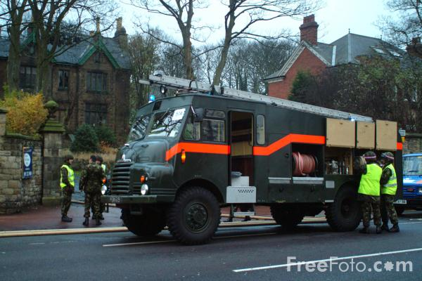 Picture of Green Goddess attends a fire at the disused Musgrove School in Low Fell, Gateshead, Tyne - Free Pictures - FreeFoto.com