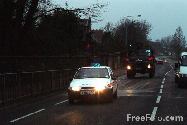 Picture of Police Escort and Green Goddess en route to a fire in Gateshead, Tyne - Free Pictures - FreeFoto.com