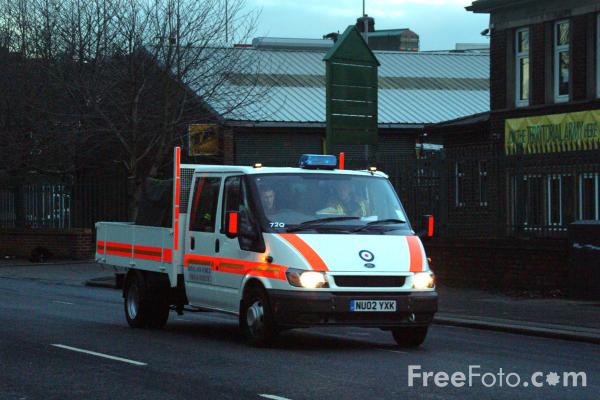Picture of RAF Rescue Equipment Support Team (REST) leaving the TA Centre, Stockton Road, Middlesbrough, Cleveland. - Free Pictures - FreeFoto.com