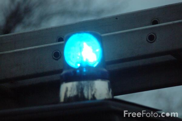 Picture of Blue Flashing Light, Green Goddess - Free Pictures - FreeFoto.com
