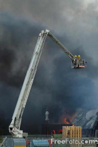 Picture of Simon Snorkel Hydraulic Platform fights a Factory Fire - Free Pictures - FreeFoto.com
