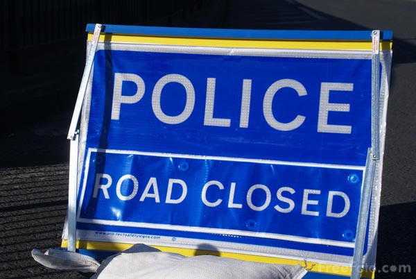 Picture of Police Road Closed Sign - Free Pictures - FreeFoto.com