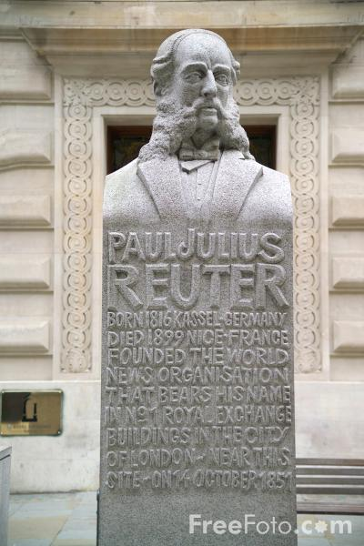 Picture of Paul Julius Reuter Statue - Free Pictures - FreeFoto.com