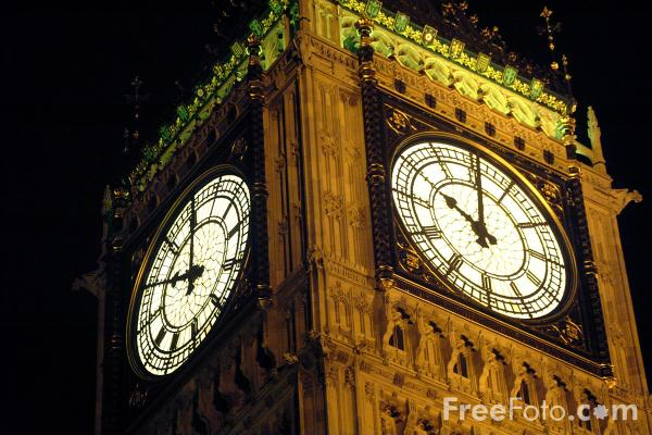 Picture of Ten O'clock, Big Ben, The Houses of Parliament, London - Free Pictures - FreeFoto.com