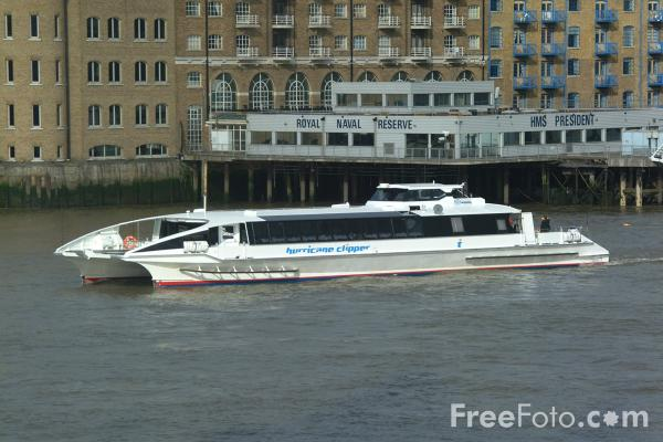 Picture of Catamaran Hurricane Clipper, The River Thames, London, England - Free Pictures - FreeFoto.com