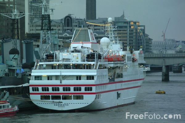 Picture of Hanseatic luxury expedition cruise ship, The River Thames, London, England - Free Pictures - FreeFoto.com