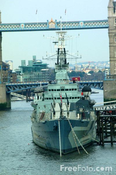 Picture of HMS Belfast, The River Thames, London - Free Pictures - FreeFoto.com