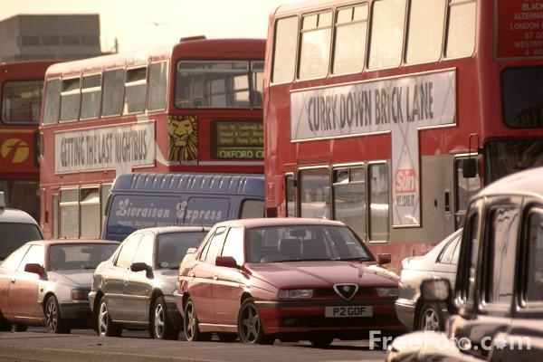 Picture of Traffic Jam, London double decker buses, London, England - Free Pictures - FreeFoto.com