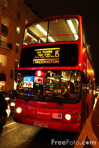 Picture of London double decker bus at night, London, England - Free Pictures - FreeFoto.com