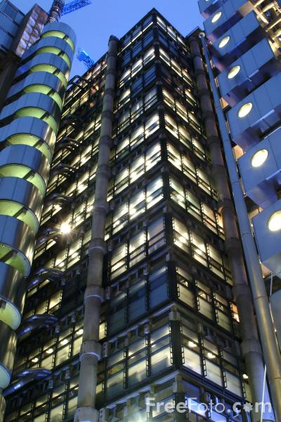 Picture of The famous Lloyd's building at night - Free Pictures - FreeFoto.com