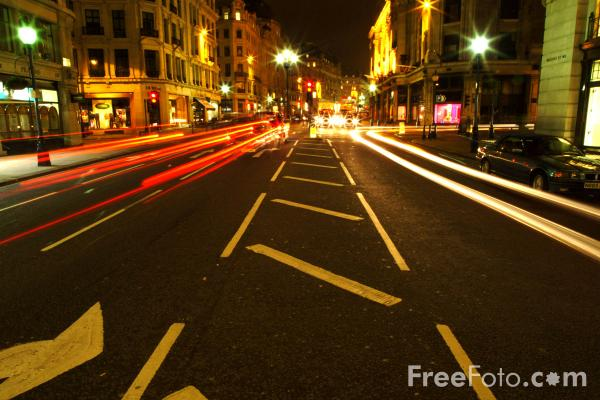 Picture of Regent Street at night, London, England - Free Pictures - FreeFoto.com