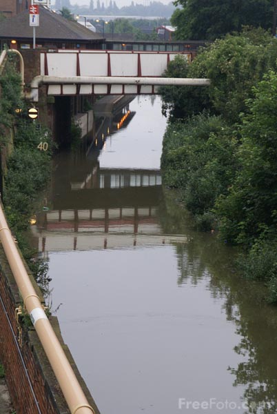 Picture of Railway tracks submerged under flood water - Free Pictures - FreeFoto.com