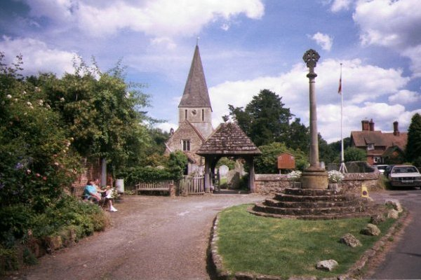 Picture of Shere, Surrey - The church, which figures in the Doomsday book, has a Norman tower with a medieval shingle spire. - Free Pictures - FreeFoto.com