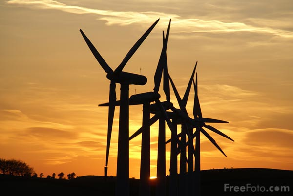 Picture of Royd Moor Wind Farm at Sunset - Free Pictures - FreeFoto.com