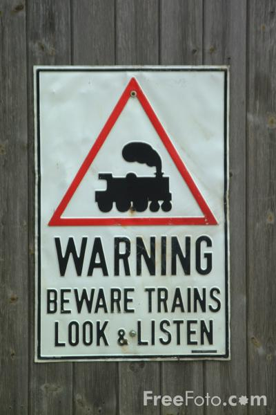 Picture of Warning Beware Trains - Look and Listen - Free Pictures - FreeFoto.com