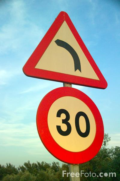 Picture of 30 km Road Sign - Free Pictures - FreeFoto.com
