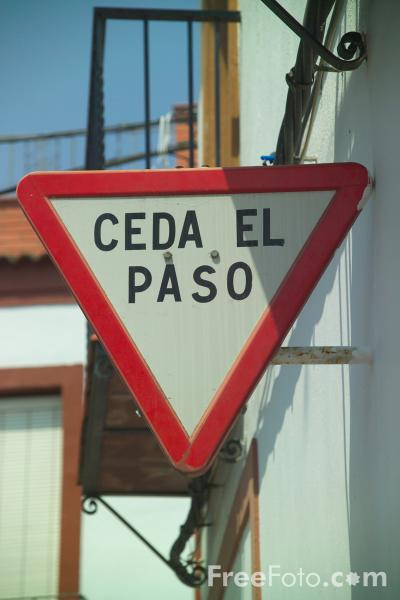Picture of Spanish Road Sign - Free Pictures - FreeFoto.com