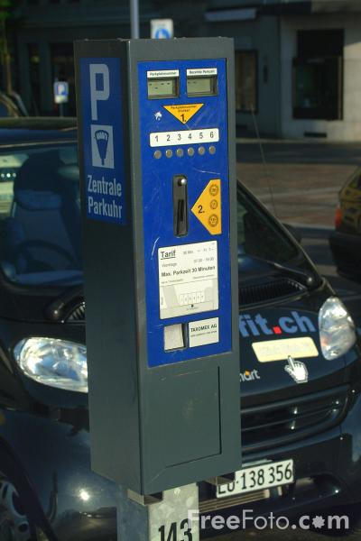 Picture of Car Parking Ticket Machine - Switzerland - Free Pictures - FreeFoto.com