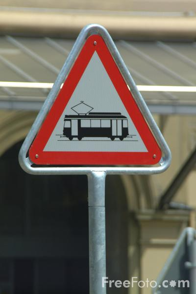 Picture of Caution Tram Line - Swiss Road Sign - Free Pictures - FreeFoto.com