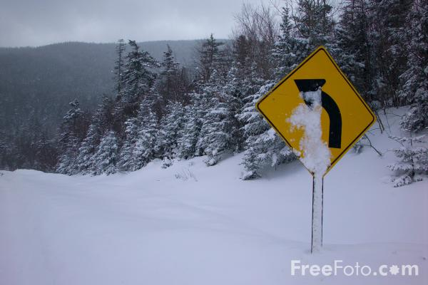 Picture of Left hand road bend ahead sign - Free Pictures - FreeFoto.com