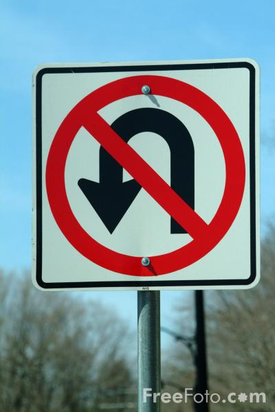 Picture of No U Turn Road Traffic Sign - Free Pictures - FreeFoto.com