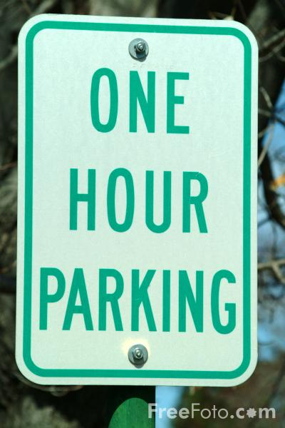Picture of One Hour Parking Road Traffic Sign - Free Pictures - FreeFoto.com
